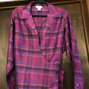 Worthington Purple Plaid Wrap Blouse
